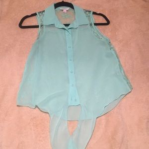 Candies Sheer & Lace Sea Blue Button-Up Top
